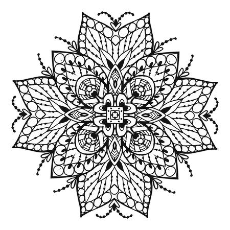 Vectoriel Doodle, dessin pour colorer le mandala. ornement Square. Il peut être utilisé comme un élément de design décoratif pour des livres de coloriage. Banque d'images - 76241595