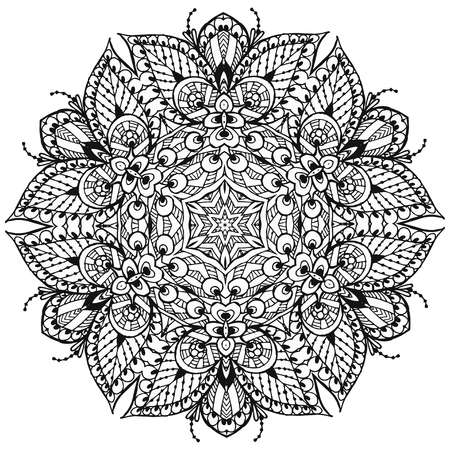 Vector Image Doodle, drawing for coloring the mandala. It can be used as a decorative design element for coloring books.