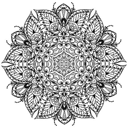 Vector Image Doodle, dessin pour colorier le mandala. Il peut être utilisé comme élément de design décoratif pour la coloration des livres. Banque d'images - 76241600
