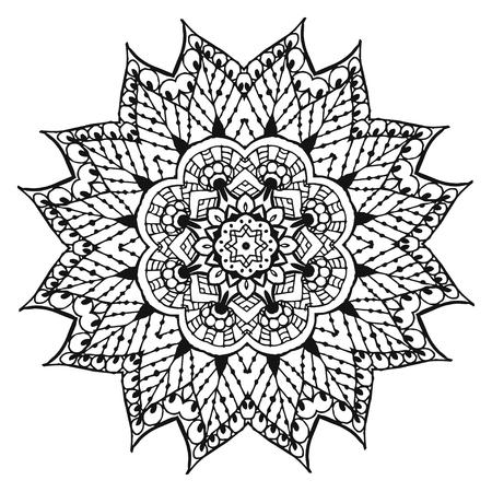 Vector Image Doodle, dessin pour colorier le mandala. Il peut être utilisé comme élément de design décoratif pour la coloration des livres. Banque d'images - 76241599