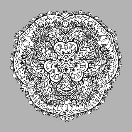 Vector Image Doodle, drawing for coloring the mandala. triangular pattern. It can be used as a decorative design element for coloring books. Clothing for prints on, for design books.