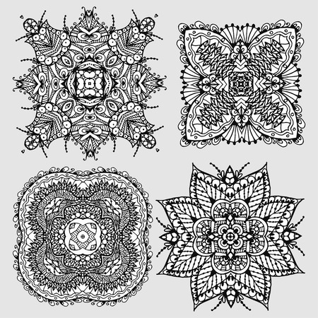 Set Vector Image Doodle, drawing for coloring the mandala. Square ornament. It can be used as a decorative design element for coloring books.