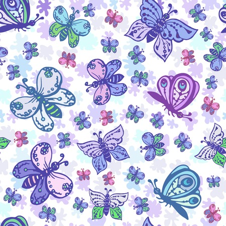 Seamless pattern in pastel colors with beautiful and colorful butterflies. Background can be used for fabric design, wallpaper, wrapping paper, childrens clothing, bed linen. Иллюстрация