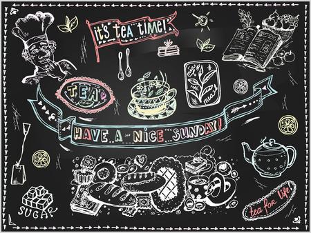 Vector graphic, artistic, stylized image of  Tea set of elements for design  menu on blackboard. Black chalkboard with chalk traces. Illustration