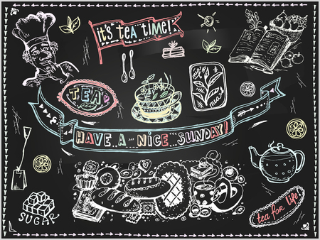 Vector graphic, artistic, stylized image of  Tea set of elements for design  menu on blackboard. Black chalkboard with chalk traces. Иллюстрация