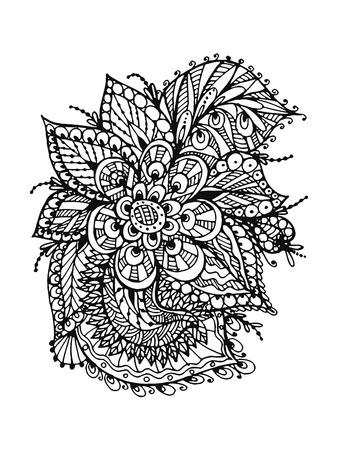 Vectoriel Doodle, dessin pour colorer le motif floral. Il peut être utilisé comme un élément de design décoratif pour des livres de coloriage. Banque d'images - 76241639