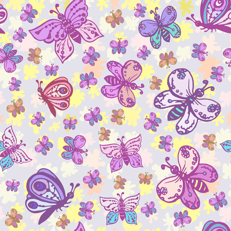 Seamless pattern in pastel colors with beautiful and colorful butterflies. Background can be used for fabric design, wallpaper, wrapping paper, children's clothing, bed linen. Illustration