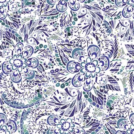 Vector seamless pattern on Indian grounds, delicate oriental watercolor. Beautiful  fond for design  and  decoration. Exquisite design of watercolor sketches of the flower.  Trendy print. Иллюстрация