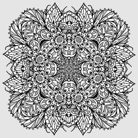 Vector Image Doodle, drawing for coloring the mandala. Square ornament. It can be used as a decorative design element for coloring books. Иллюстрация