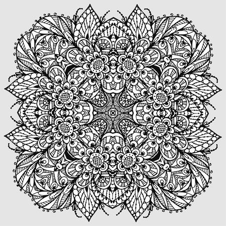 Vectoriel Doodle, dessin pour colorer le mandala. ornement Square. Il peut être utilisé comme un élément de design décoratif pour des livres de coloriage. Banque d'images - 76241643