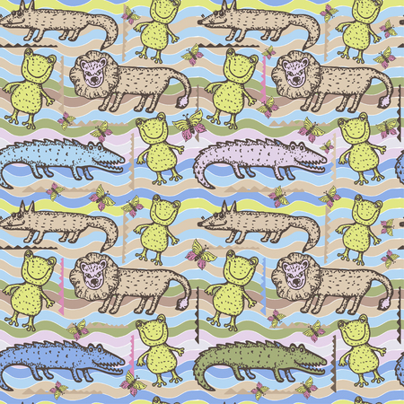 Seamless pattern with cute animals. Childrens background. It can be used for wallpaper design, packaging paper, fabrics, bedding and clothing.