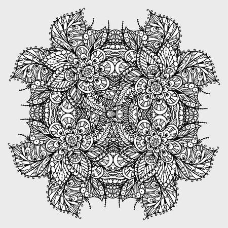Vectoriel Doodle, dessin pour colorer le mandala. ornement Square. Il peut être utilisé comme un élément de design décoratif pour des livres de coloriage. Banque d'images - 76241652