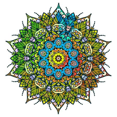 Image vectorielle d'un mandala décoré. Il peut être utilisé pour concevoir des cartes postales. Pour les livres à colorier. Imprimez sur les vêtements. Banque d'images - 76241654