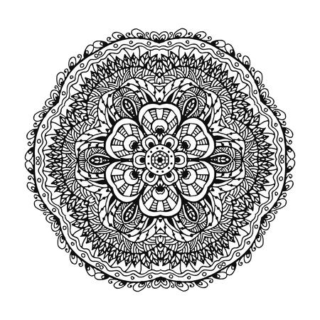 Image vectorielle d'un mandala de motif circulaire noir et blanc. Il peut être utilisé pour l'impression sur les vêtements, selon les livres à colorier. Banque d'images - 76241653