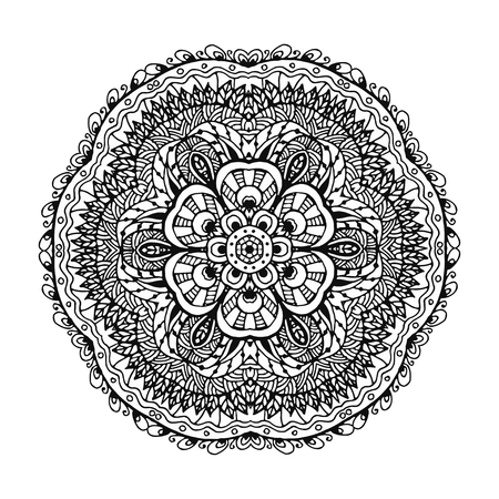 Vector image of a black and white circular pattern mandala. It can be used for printing on clothing, according to coloring books.