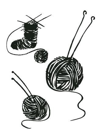 A set of vector drawings yarn ball image and spokes. Sock Knitting. Иллюстрация