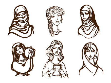 Set of vector images of girls - Ukrainian, Indian, Arab, Italian. Иллюстрация