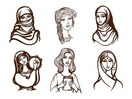 Set of vector images of girls - Ukrainian, Indian, Arab, Italian. Illustration