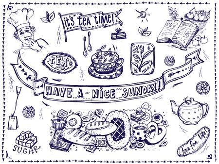 Vector graphic, artistic, stylized image of  Tea set of elements for design  menu. Illustration