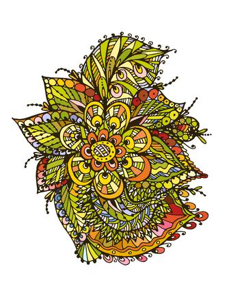 Vectoriel Doodle, dessin pour colorer le motif floral. Il peut être utilisé comme un élément de design décoratif pour des livres de coloriage. Banque d'images - 76241658