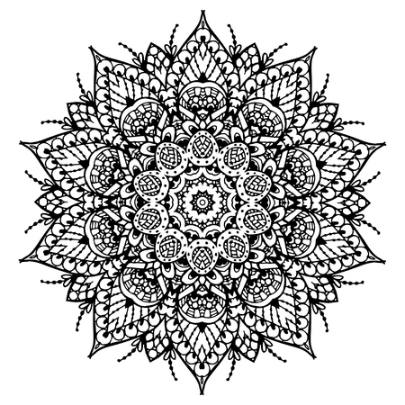 according: Vector image of a black and white circular pattern mandala. It can be used for printing on clothing, according to coloring books.