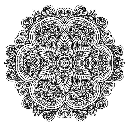 Image vectorielle d'un mandala de motif circulaire noir et blanc. Il peut être utilisé pour l'impression sur les vêtements, selon les livres à colorier. Banque d'images - 76241662
