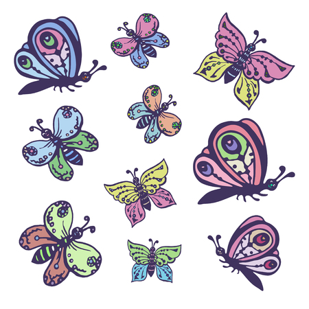 Set of vector images of beautiful butterflies decorative. Set of vector images of beautiful butterflies decorative.Can be used for design cards, brochures, price lists, printing on clothing.