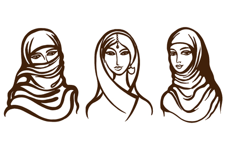 Set of vector images Indian, Muslim. Image of a woman of the East.
