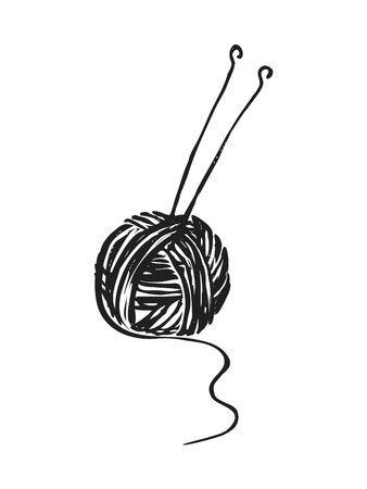 Vector image of a ball of yarn and knitting needles. hand drawn, cartoon, sketch illustration.