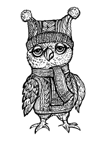 Vector image Owl in a knitted hat. Can be used for coloring, design of books, emblem, postcards. Иллюстрация