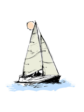 Vector drawing of a yacht. Figures in the form of a sketch. It can be used to design brochures, advertising, travel. Banque d'images - 104883138