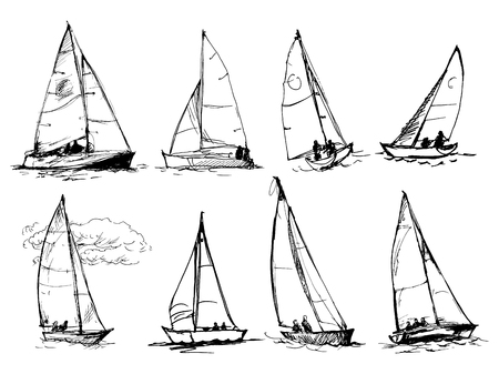 Set of vector drawings of yachts. Figures in the form of a sketch. It can be used to design brochures, advertising, travel. Banque d'images - 104883139