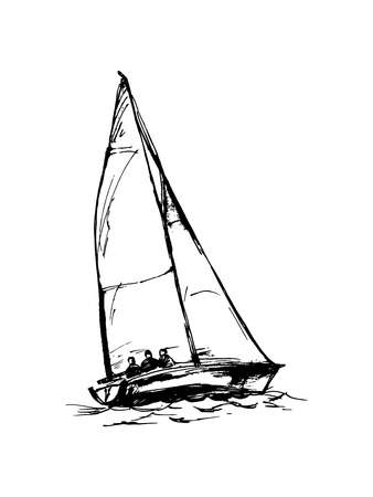 Vector drawing of a yacht. Figures in the form of a sketch. It can be used to design brochures, advertising, travel. Banque d'images - 104883140