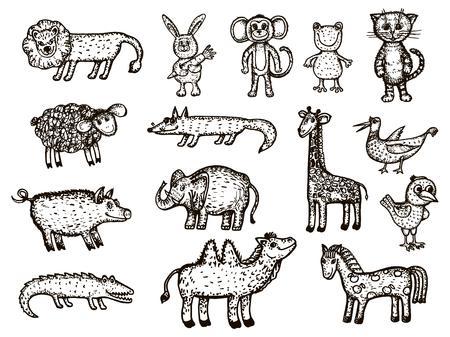 Vector image of animals. Animal sketches - elephant, crocodile, monkey, giraffe, boar, camel, bear, chicken, bird, frog, lion, fox, cat, ram, hare