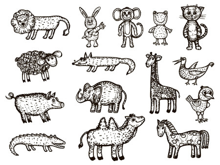 Vector image of animals. Animal sketches - elephant, crocodile, monkey, giraffe, boar, camel, bear, chicken, bird, frog, lion, fox, cat, ram, hare Banque d'images - 121958594