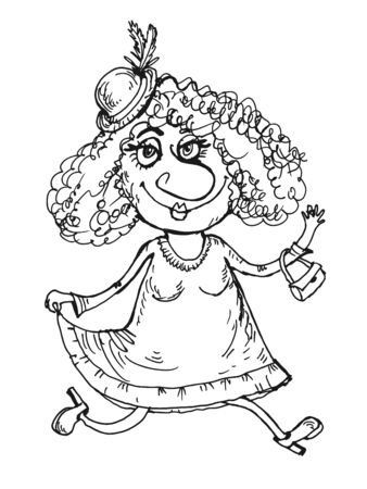 graphic drawing of a cheerful traveling woman. Black and white image