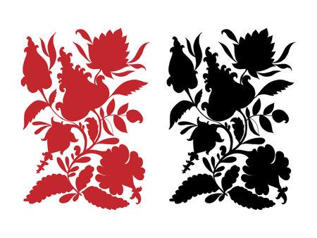 Vector graphic, artistic, stylized image of silhouette of flower arrangement. Floral decor. Decorative floral element Doodle. Illustration