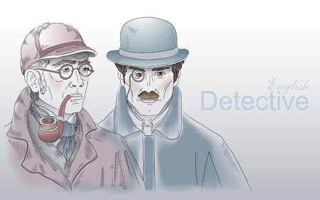 The heroes of the novel by Arthur Conan Doyle. Detective Sherlock Holmes and Dr. Watson. Vector illustration. Çizim