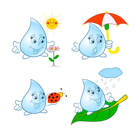 drops of water: Set of funny cartoon cheerful water drops.