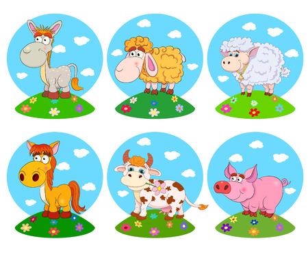bull illustration cute animals: Set of funny cartoon pets: horse, cow, donkey, pig, sheep, ram. Vector illustration on white background. Illustration