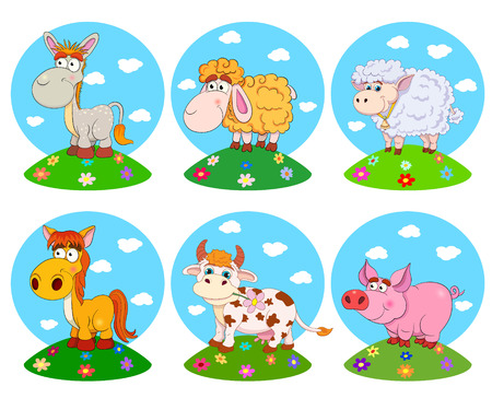 Set of funny cartoon pets: horse, cow, donkey, pig, sheep, ram. Vector illustration on white background. Illustration