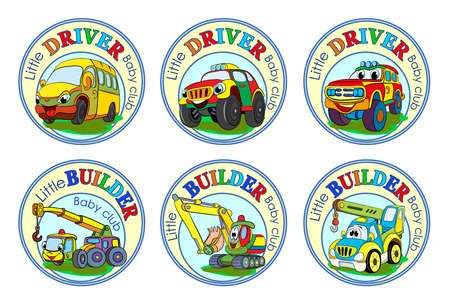 dredger: Set of six logos for childrens clubs with cartoon characters on white background.