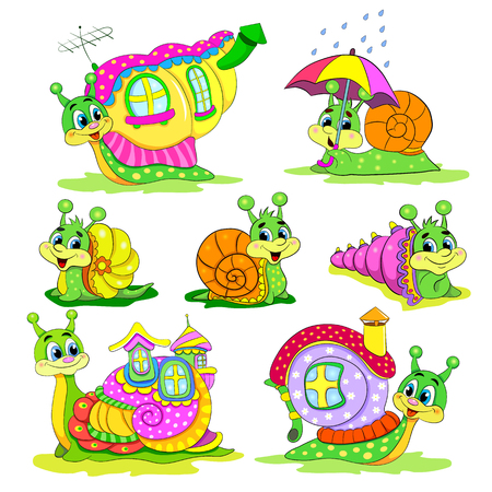 cochlea: Set of Cartoon funny snails with houses.