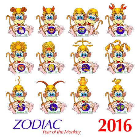 signed: Zodiac. Set. Cartoon Monkey holding cards with pictures of the zodiac signs, signed by Latin names and dates indicated. Vector illustration.