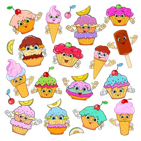 helado caricatura: Conjunto de pasteles de dibujos animados divertidos y helado con caras felices. Fondo blanco. Ilustración del vector.