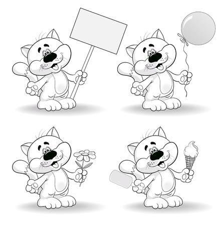 fanny: Fanny cartoon cat with various objects. Coloring page. Illustration
