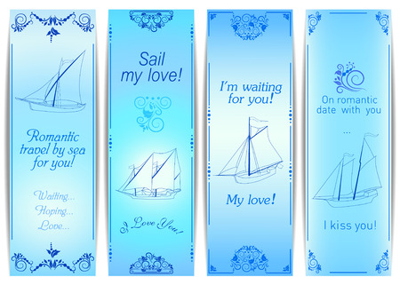 yachts: Four blue vintage romantic cards with ornaments and sketches of sailing yachts. Illustration