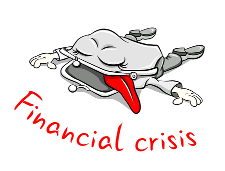 empty wallet: Funny cartoon character. Open an empty purse tired of the financial crisis. Illustration
