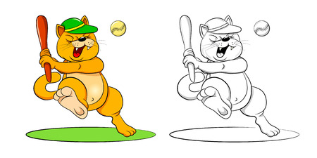 teamwork cartoon: Funny cartoon cat baseball bat hit the ball. colored illustration and coloring book.