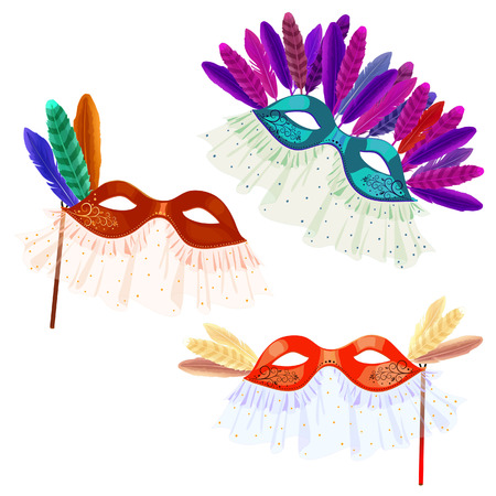 masquerade masks: Carnival masks with feathers and veil for masquerade on a white background Illustration
